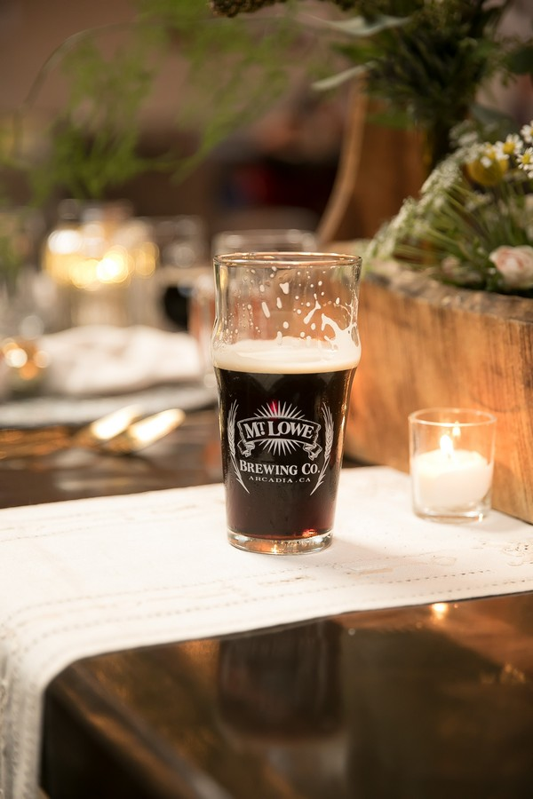 Glass of beer on wedding table
