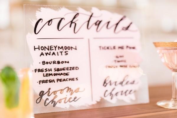 Wedding cocktail menu