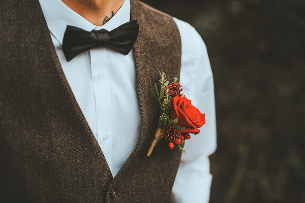 Groom's red rose buttonhole