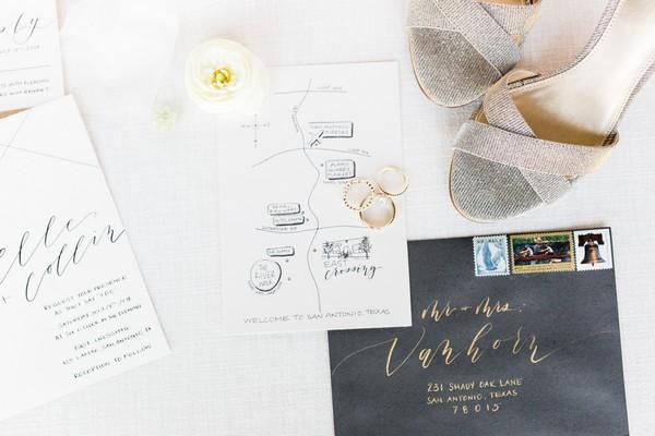 Elegant white and black wedding stationery