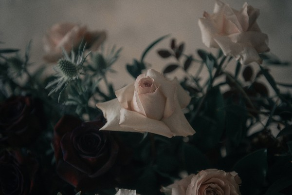 Close up of wedding table flowers