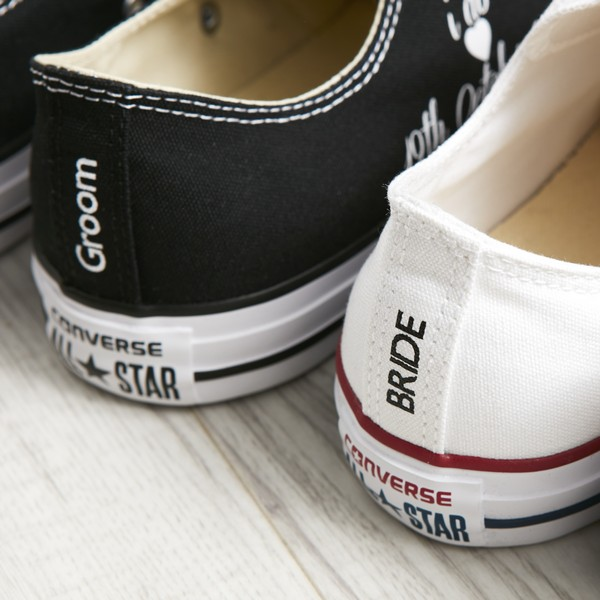 Bride and Groom Custom Heel Tag on Converse Wedding Trainers