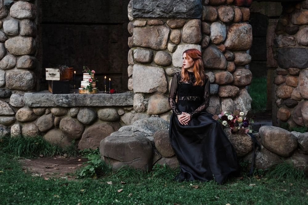 Moody Gothic Outdoor Wedding Styling