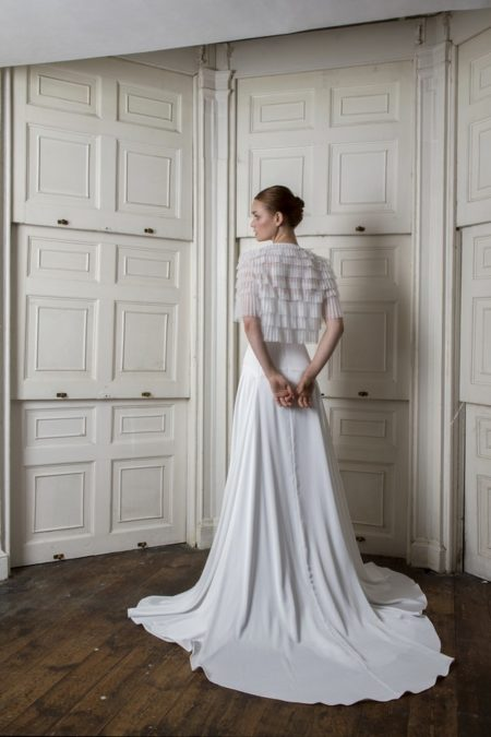 Back of Finsbury Dress with Euston Jacket from the Halfpenny London The Air That We Breathe 2019 Bridal Collection