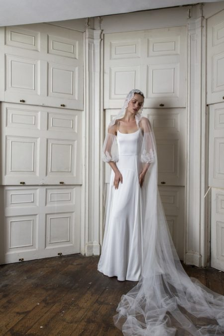 Finsbury Dress with Marylebone Sleeves and Veil from the Halfpenny London The Air That We Breathe 2019 Bridal Collection