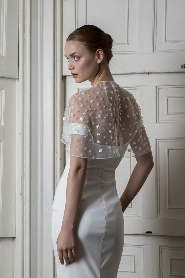 Back of Harbour Dress with Bloomsbury Cape from the Halfpenny London The Air That We Breathe 2019 Bridal Collection