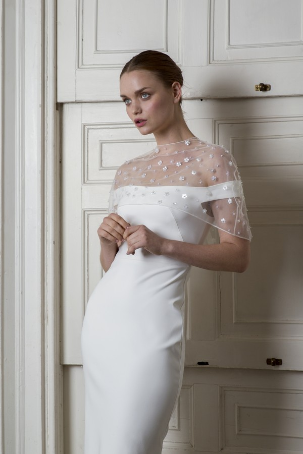 Harbour Dress with Bloomsbury Cape from the Halfpenny London The Air That We Breathe 2019 Bridal Collection