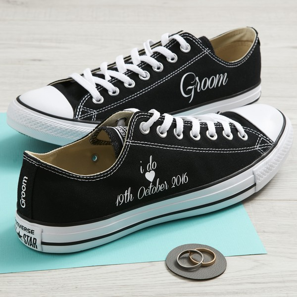I do Groom Black Classic Ox Converse Wedding Trainers