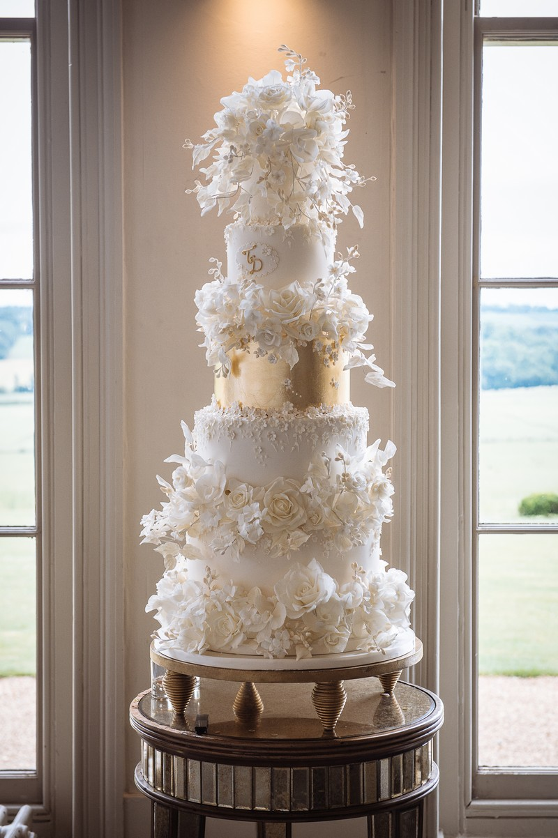Ivory and Gold Luxury Multi-Tier Wedding Cake