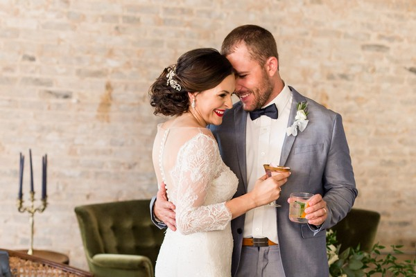 Bride and groom having cocktails at East Crossing
