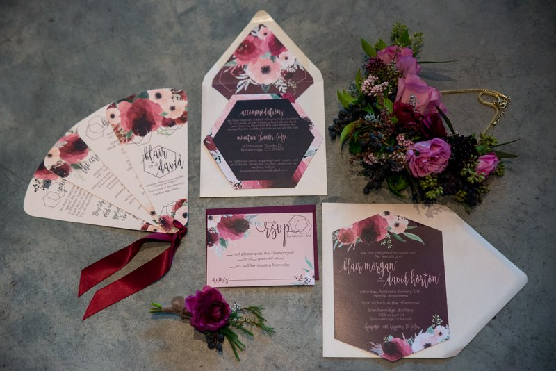 Purple floral winter wedding stationery