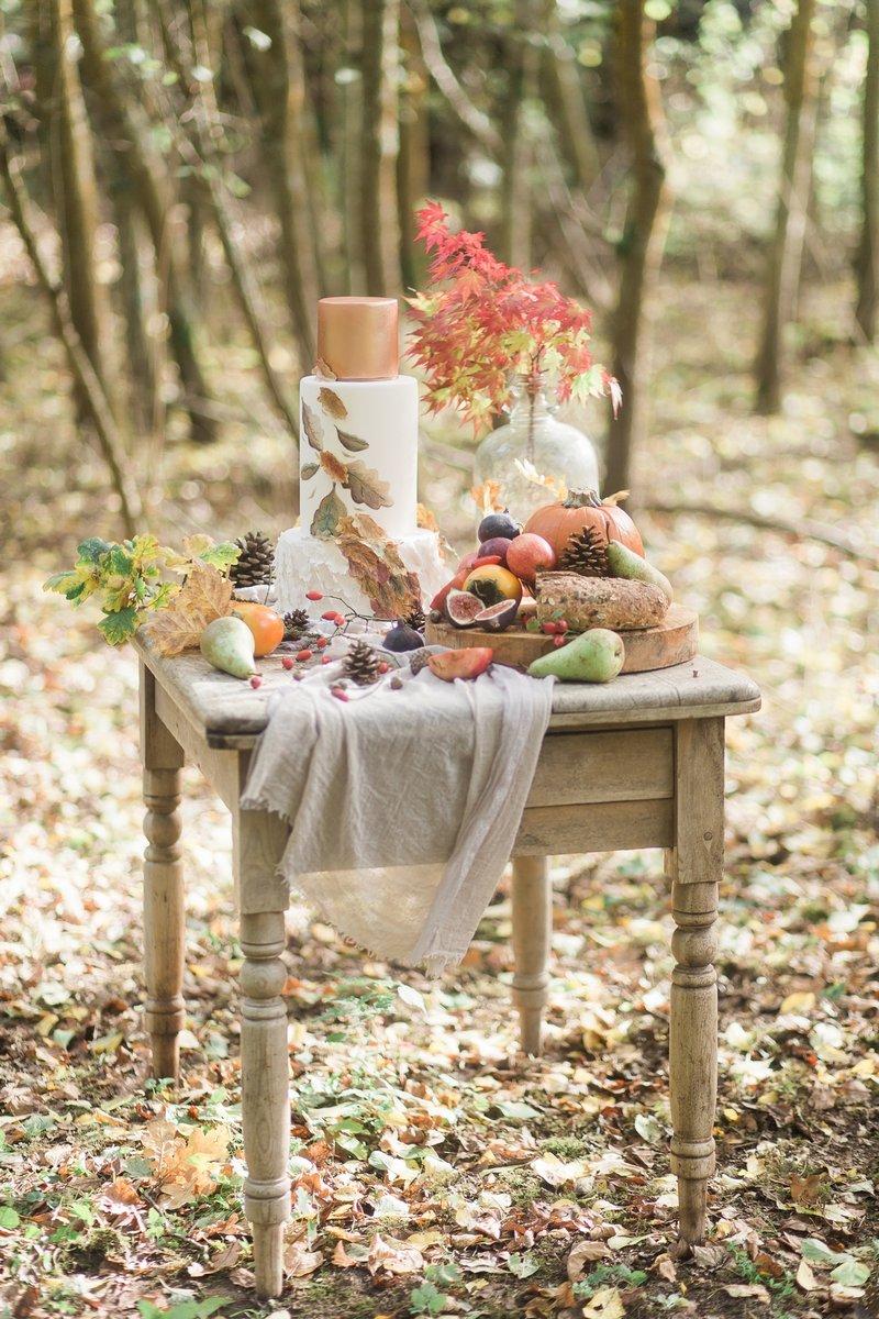 Autumn wedding table display in woodland