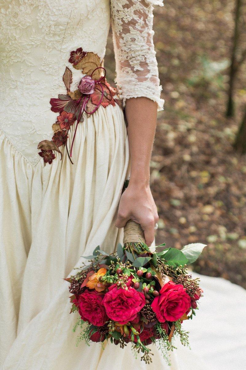 Bride's red wedding bouquet