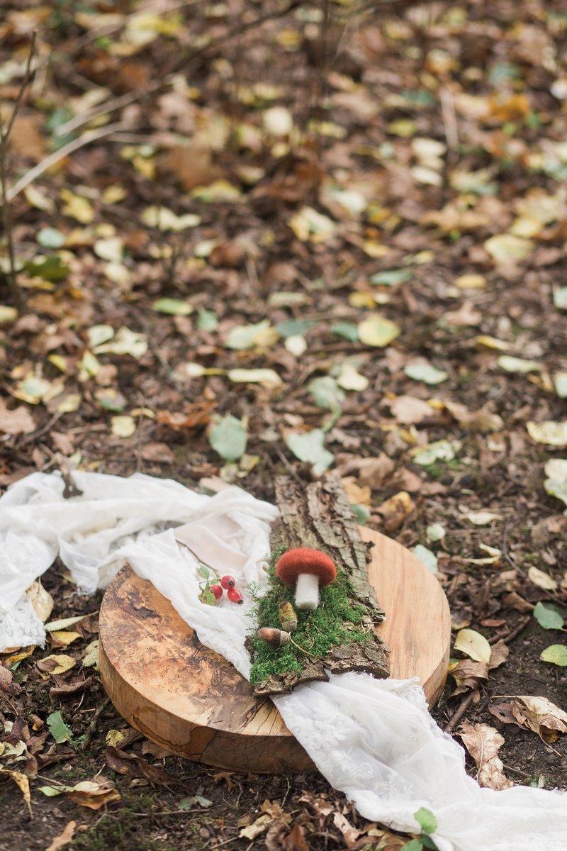 Felt mushroom and acorns on wooden board