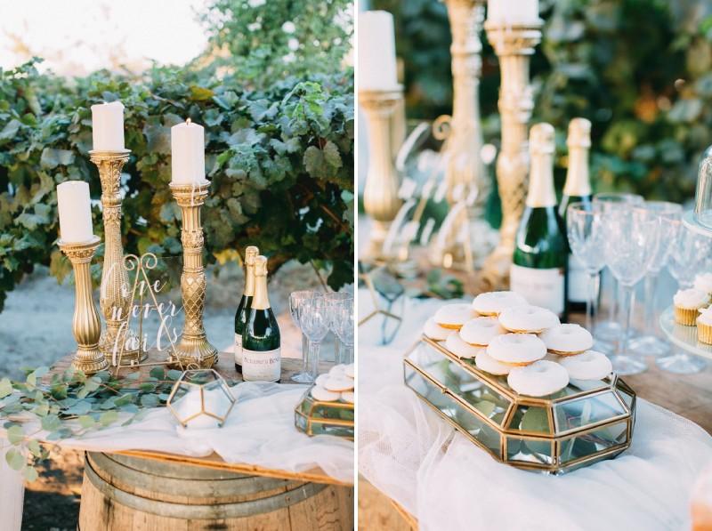 Doughnuts on wedding dessert table