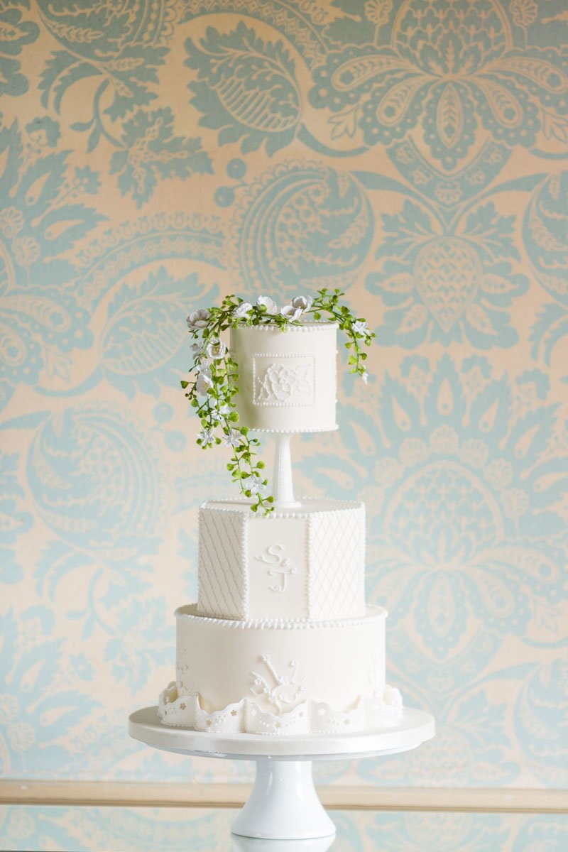 White vintage style wedding cake