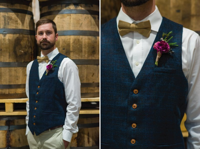 Best man in blue waistcaot with mustard bow tie