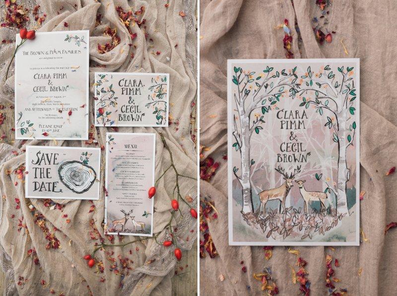 Woodland themed wedding stationery