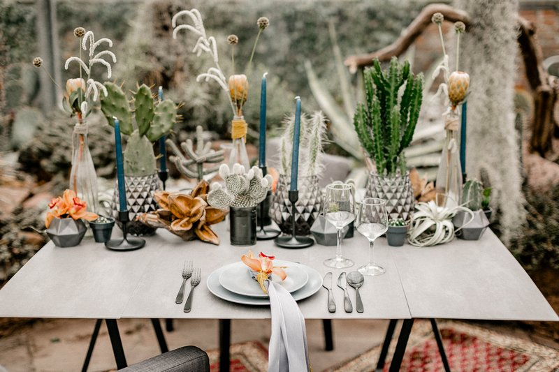 Table with cactus wedding styling