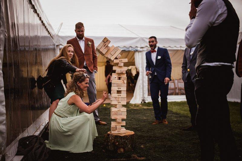 Wedding guests playing Jenga