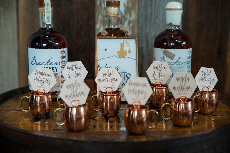 Whisky shot wedding table plan