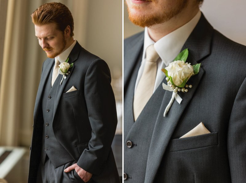 Best man in grey three-piece suit
