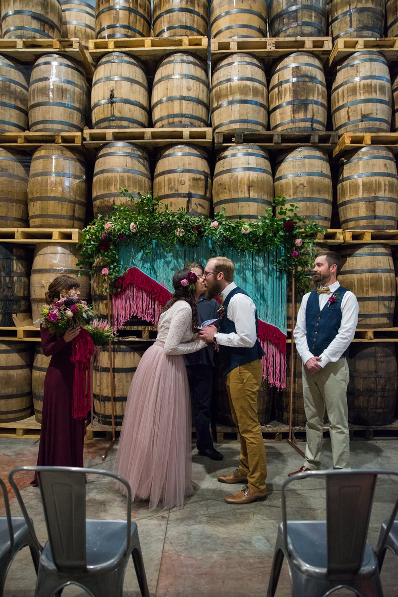 Wedding ceremony at Breckenridge Distillery