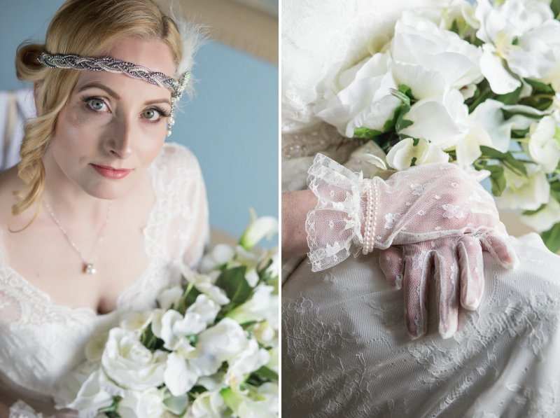 Vintage bride wearing headband and lace gloves