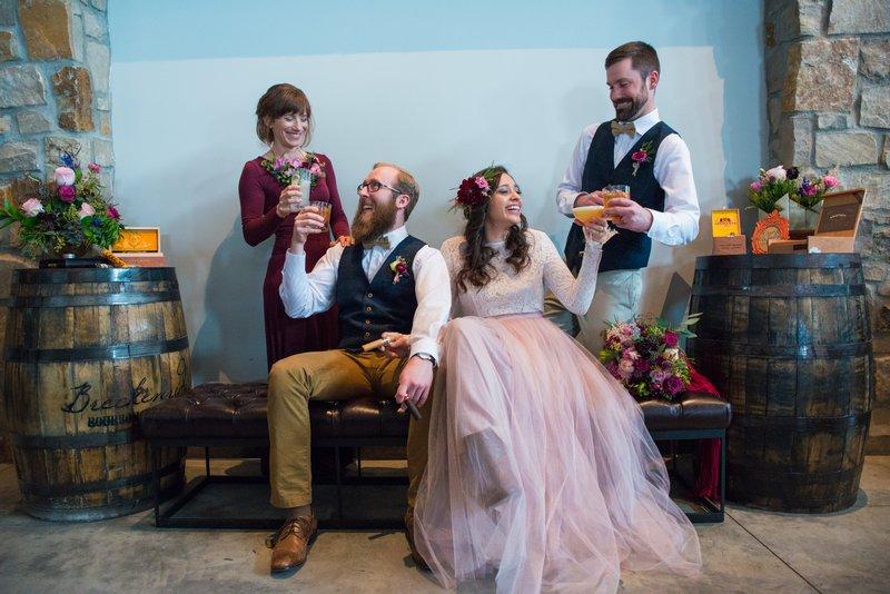 Bridal party enjoying drinks at Breckenridge Distillery