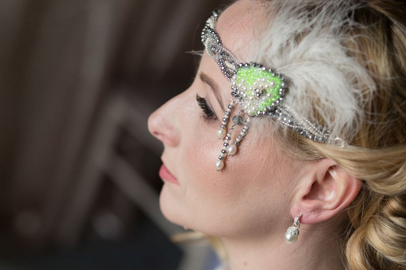 Vintage style bridal headband with green neon detail