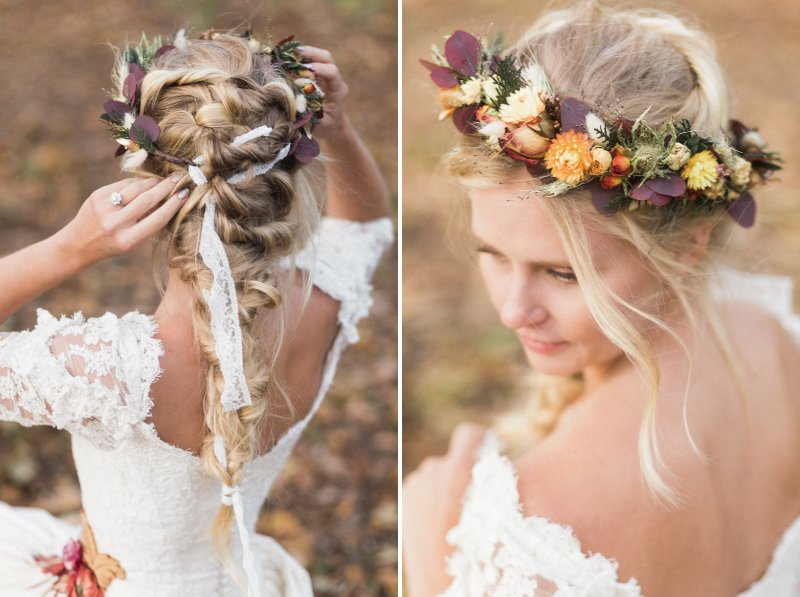 Bride wearing autumn flower crown with plait hairstyle