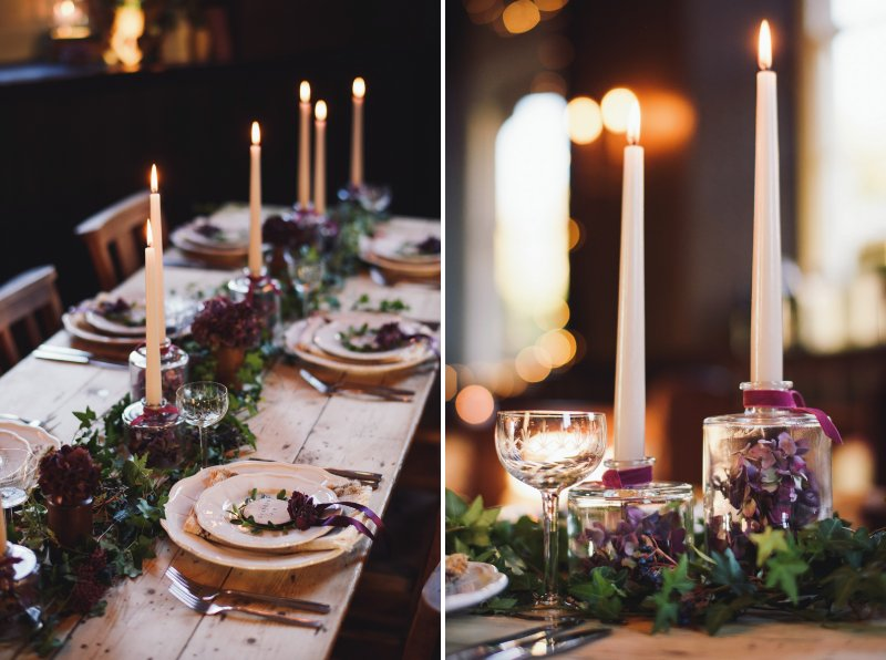 Cosy, rustic wedding table with candles, ivy runner and white plates