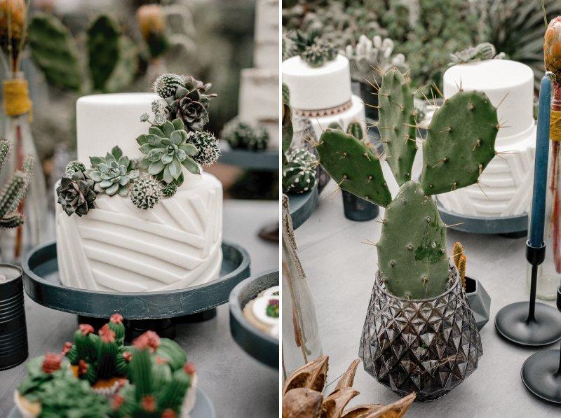 White wedding cake and cactus