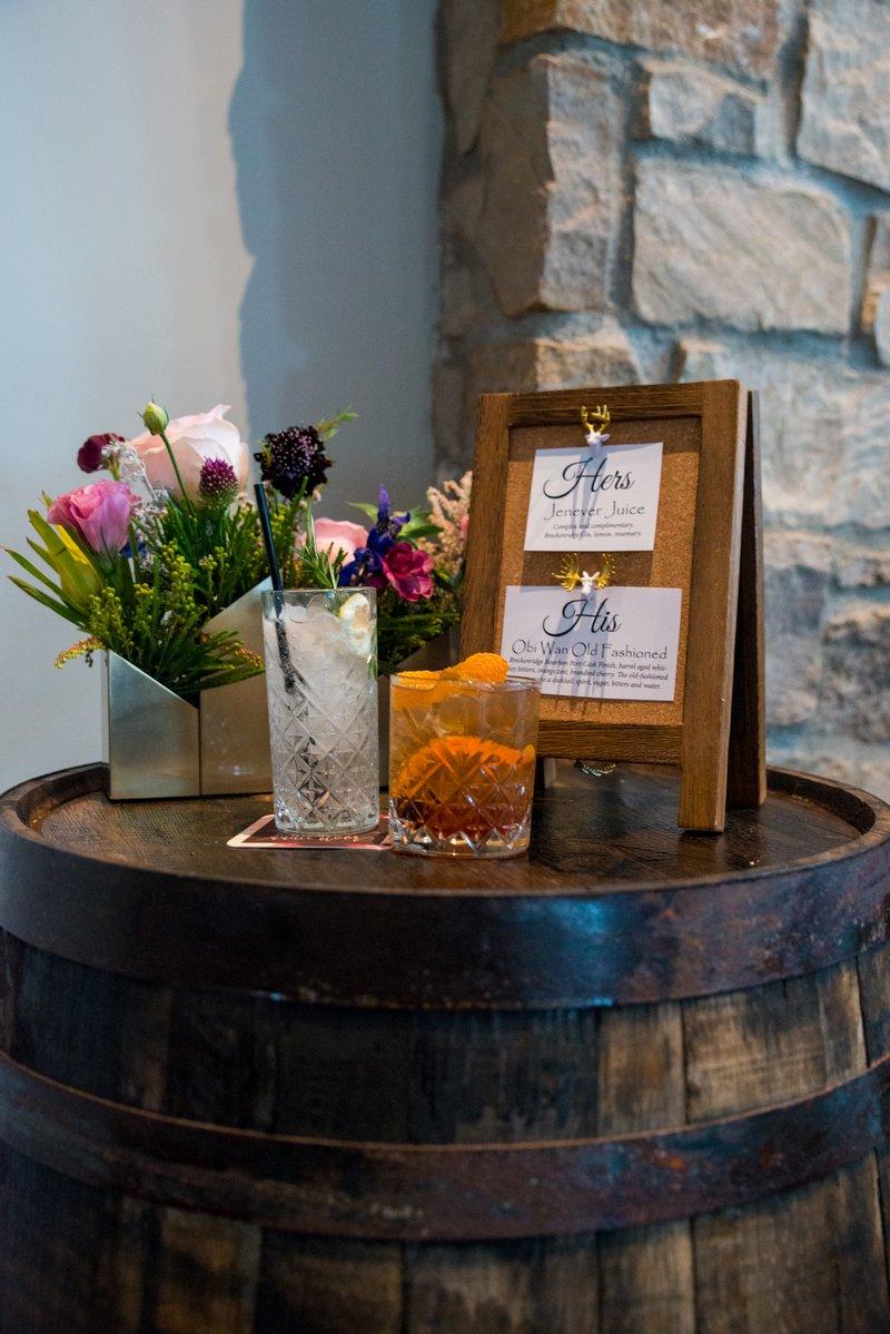 Cocktails on top of whisky barrel