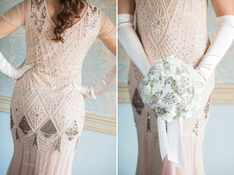 Bridesmaid wearing dress with sequin detail and holding posy bouquet