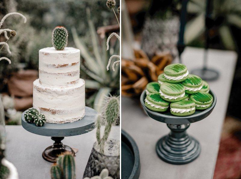 White semi-naked wedding cake and green macarons