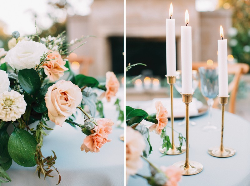 Wedding table flowers and candles