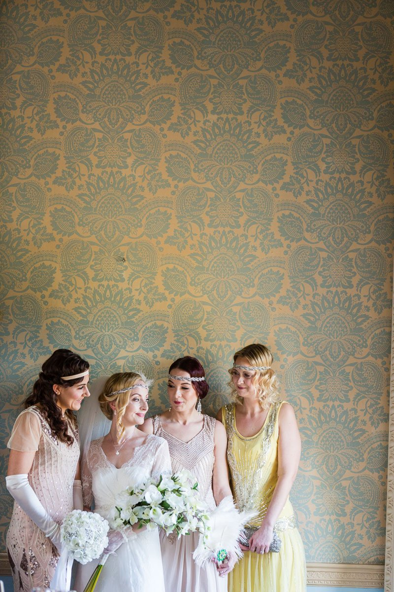 Vintage bride and bridesmaids