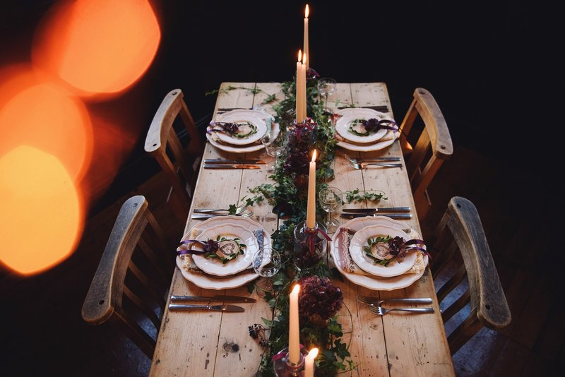 Rustic table with hygge wedding styling
