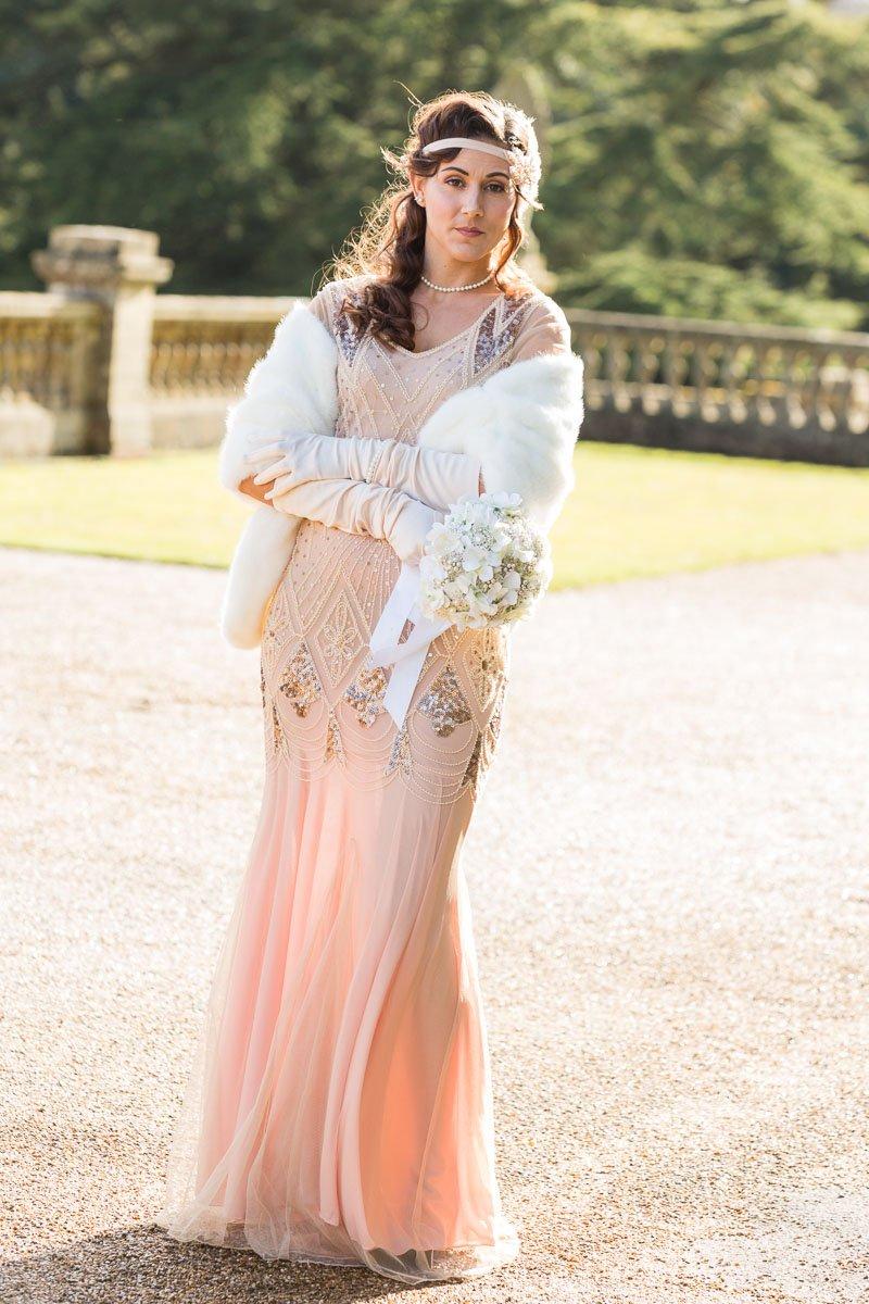 Bridesmaid wearing fur shrug