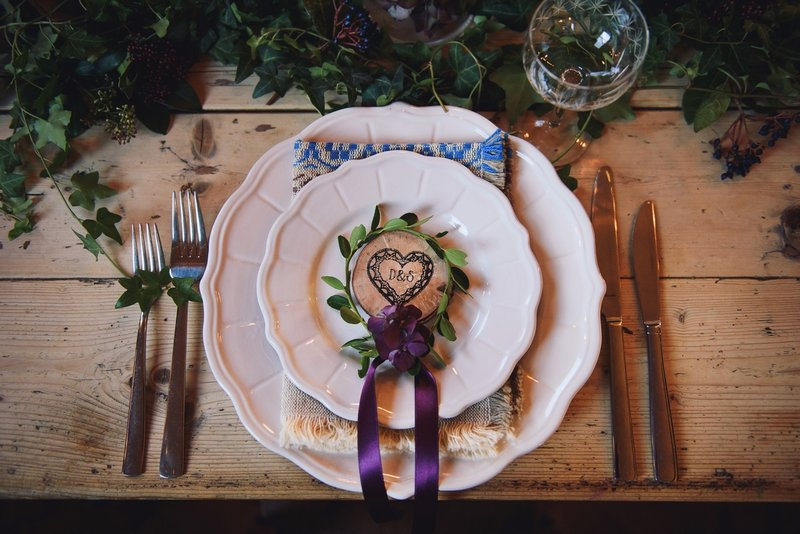 Wedding place setting with hygge styling