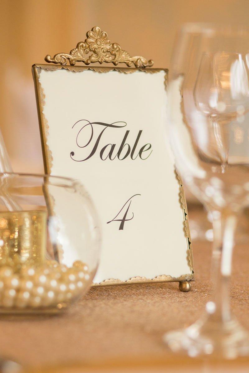 Elegant, vintage style wedding table number