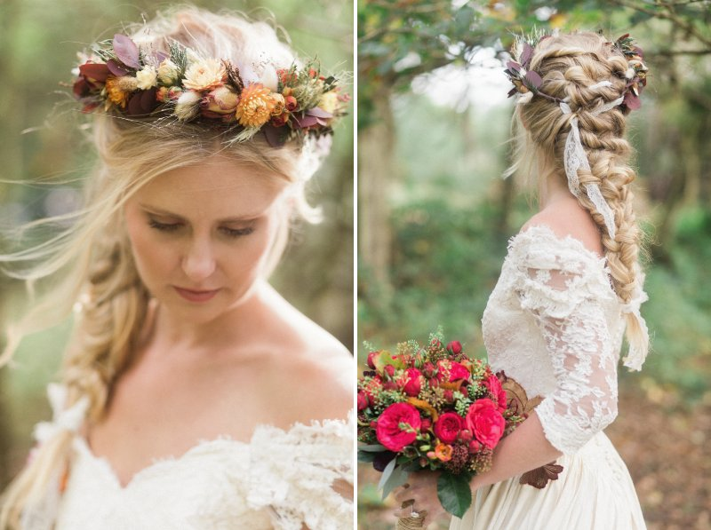 Bride with long plait hairstyle wearing autumn floral crown