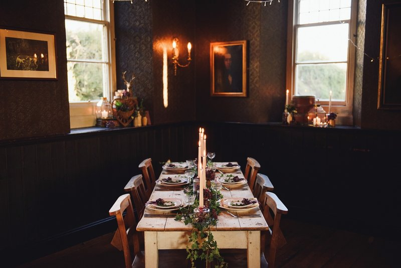 Small wedding table with hygge styling in The Battleaxes pub