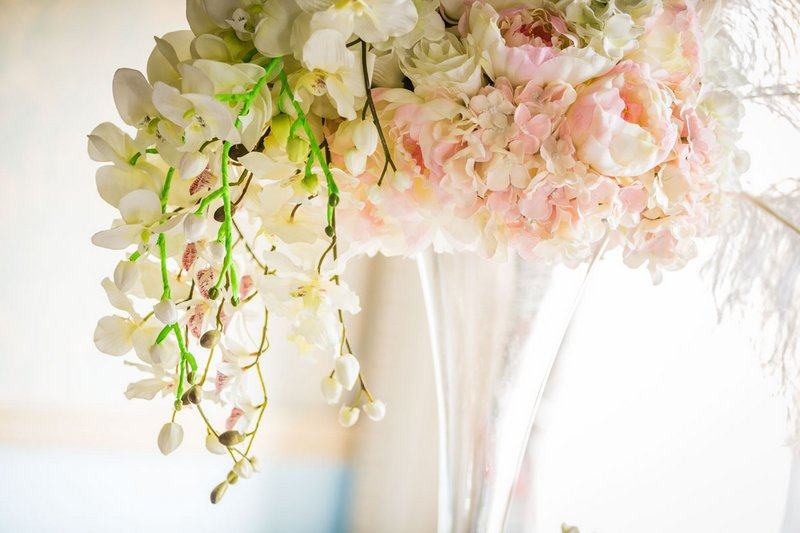 Neon stalks on wedding flowers
