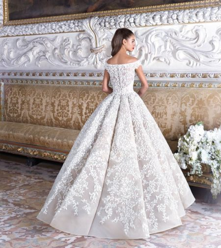 Back of DP375 Marguerite Wedding Dress from the Platinum by Demetrios 2019 Bridal Collection