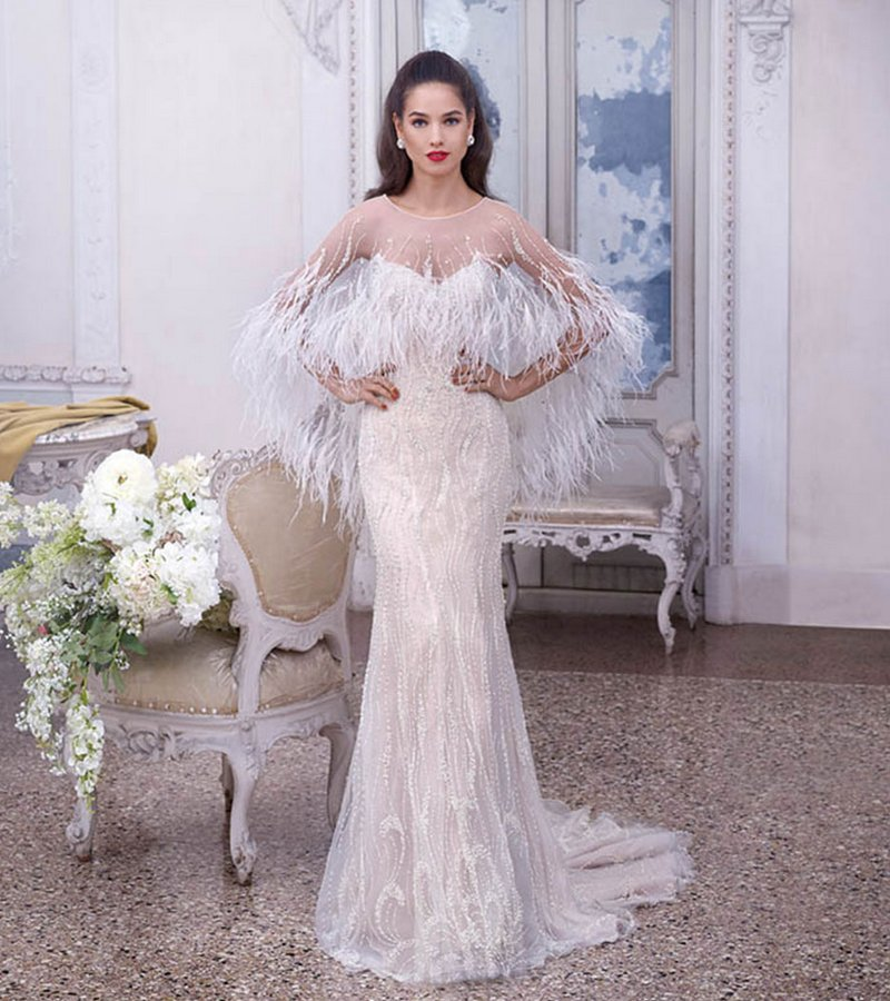 DP378 Delphine Wedding Dress with Feather Cape from the Platinum by Demetrios Clair de Lune 2019 Bridal Collection
