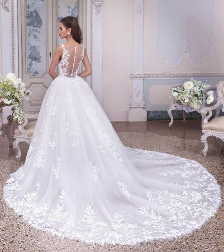 Back of DP380 Colette Wedding Dress from the Platinum by Demetrios Clair de Lune 2019 Bridal Collection
