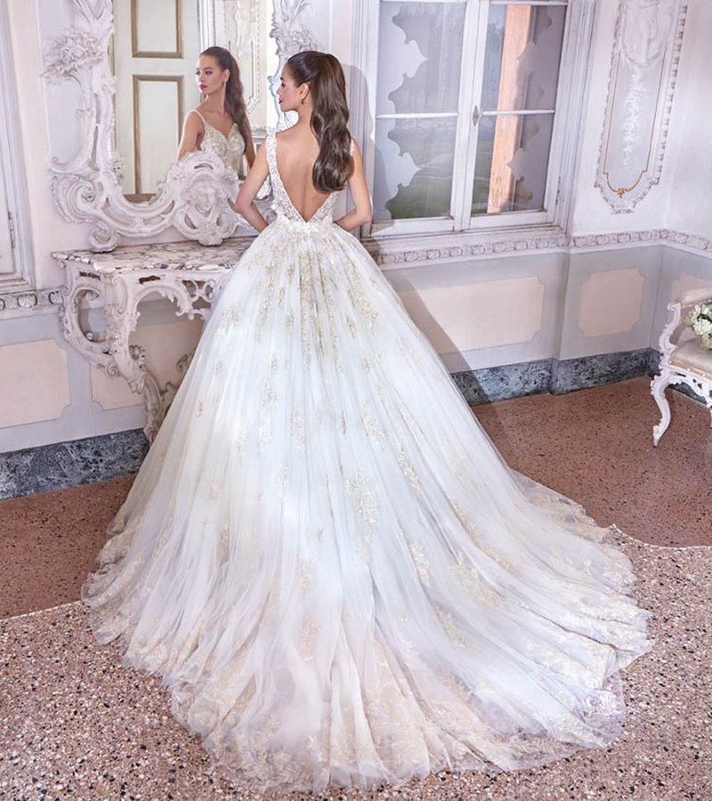 Back of DP381 Sophie Wedding Dress from the Platinum by Demetrios Clair de Lune 2019 Bridal Collection