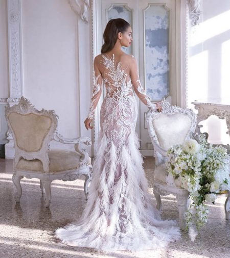 Back of DP382 Estelle Wedding Dress from the Platinum by Demetrios 2019 Bridal Collection